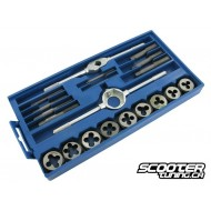 Tap and die set Motoforce, 9 taps / M3 to M12 dies / 2 holders