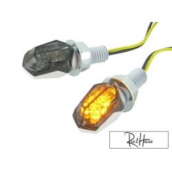 (2X) Indicators STR8 LED Mini II Black-Line, white / black
