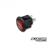 Switch round black universal with red light (20mm)
